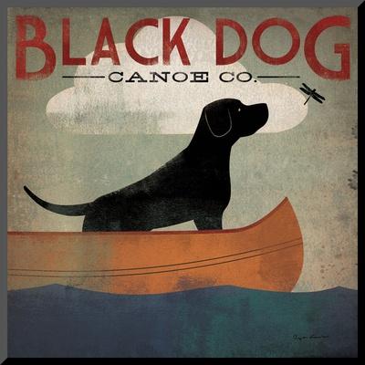 Black Dog Canoe Mounted Print by Ryan Fowler
