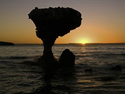 Balandra Beach and Balancing Rock Near Los Azabaches, Baja California, Mexico at Sunset Photographic Print by David Cobb
