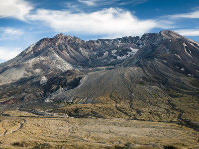 Mount St Helens from Johnson Ridge in September, Only Sparse Vegetation Has Returned to the Area Photographic Print by Ellen Bishop