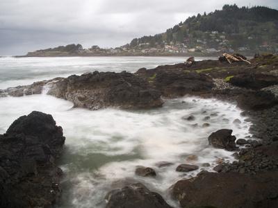 Rocky Coast Near Yachats, Lincoln County, Oregon, USA Photographic Print by Sean Bagshaw