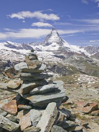The Matterhorn and a Cairn Above Zermatt, Switzerland Photographic Print by Ashley Cooper