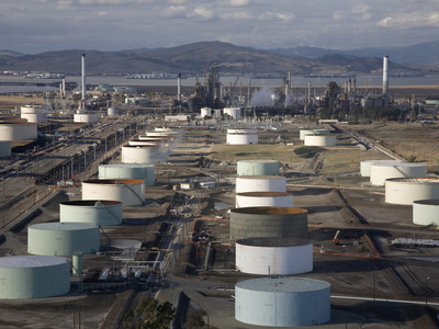 Aerial View of Oil Refinery and Storage Tanks Near Concord Cauquinez Strait of the San Francisco Photographic Print by Marli Miller