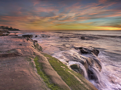 La Jolla Beach eroded sandstone rock cliffs San Diego beach seascape photo by Patrick Smith