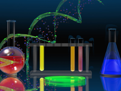 Illustration of the DNA Molecule and Laboratory Glassware Fotografisk tryk af Carol & Mike Werner
