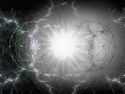 Artist's Interpretation of Matter - Antimatter Collision Fotografisk tryk af Carol & Mike Werner