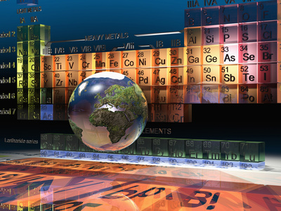 Illustration of the Building Blocks of the Earth, the Periodic Table of the Elements, and a Globe Photographic Print by Carol & Mike Werner