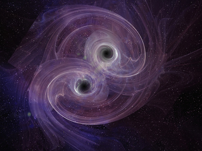 Artistic Concept of Two Black Holes Circling Each Other before Merging Photographic Print by Carol & Mike Werner