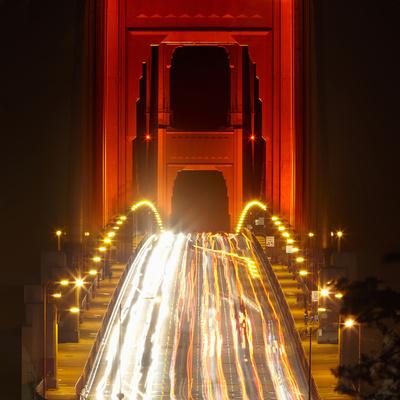 Nightime Traffic on the Golden Gate Bridge, San Francisco, California, USA Photographic Print by Patrick Smith
