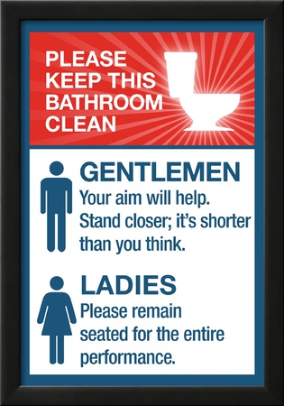 Clean Bathrooms Ladies Gentlemen Sign Art Print Poster Posters