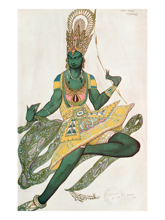 Costume Design for Nijinsky (1889-1950) for His Role as the 'Blue God', 1911 (W/C on Paper) Premium Giclee Print by Leon Bakst