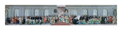 James Ii (1633-1701) Receiving the Mathematical Scholars of Christ's Hospital (Gouache on Paper) Giclee Print by Antonio Verrio