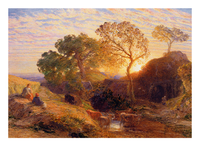 Sunset, C.1861 (W/C, Graphite, B/C and Gum on Card) Premium Giclée-tryk af Samuel Palmer