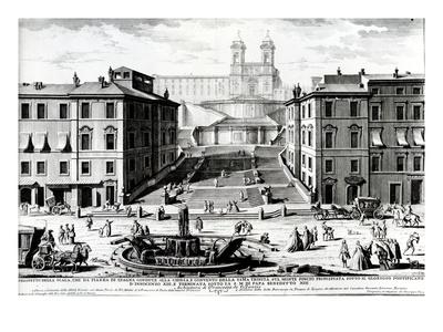Piazza Di Spagna, C.1740 (Engraving) Premium Giclee Print by Giuseppe Vasi