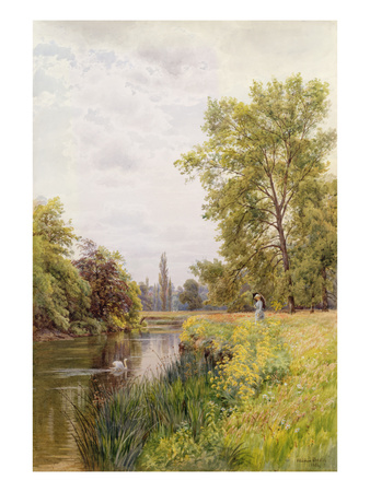 The Thames at Purley, 1884 (W/C on Paper) Premium Giclee Print by William Bradley
