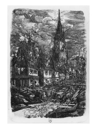 Fishing Port with Pointed Steeple, 1860 (Etching) Premium Giclee Print by Rodolphe Bresdin