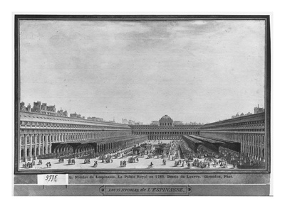 Garden of the Palais Royal, 1785 (W/C and Pen and Grey Ink on Paper) Premium Giclee Print by Louis-Nicolas de Lespinasse