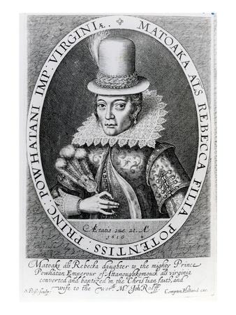 Pocahontas, 1616 (Engraving) Premium Giclee Print by Simon de Passe