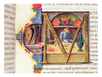 Historiated Initial 'M' Depicting a Metalworker, from the 'Naturalis Historia' by Pliny the Elder Premium Giclee Print by  Italian