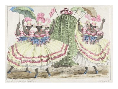 Red-Set Girls and Jack-In-The-Green, Plate 2 from 'sketches of Character...', 1838 (Colour Litho) Premium Giclee Print by Isaac Mendes Belisario
