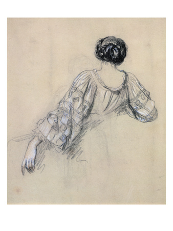 Back of a Young Woman (Study for 'La Malaria') (Chalk on Paper) Premium Giclee Print by Ernest Antoine Hebert