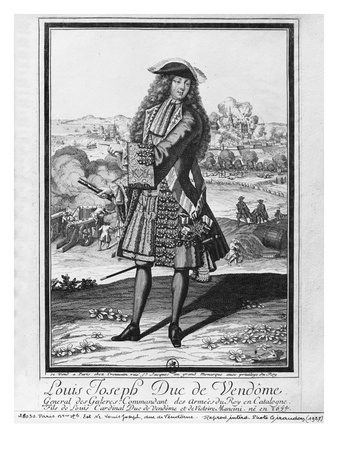 Louis Joseph De Bourbon, Duke of Vendome, known as 'The Great Vendome' (Engraving) (B/W Photo) Premium Giclee Print by  French