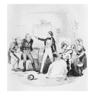 Nicholas Congratulates Arthur Gride on His Wedding Morning, Illustration from `Nicholas Nickleby' Giclee Print by Hablot Knight Browne