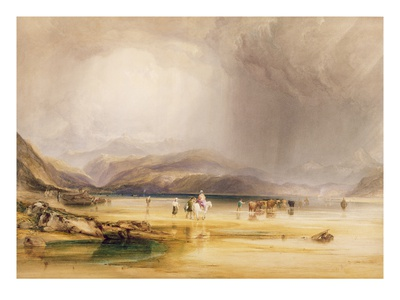 View from Snowdon from Sands of Traeth Mawe, Taken at Ford Between Pont Aberglaslyn and Tremadoc Premium Giclee Print by Anthony Vandyke Copley Fielding