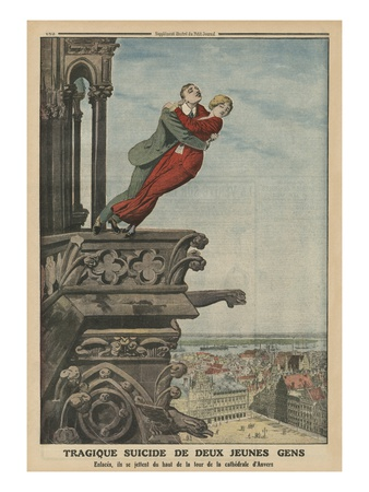 Tragic Suicide of Two Young People from the Tower of the Cathedral in Antwerp Premium Giclee Print by  French