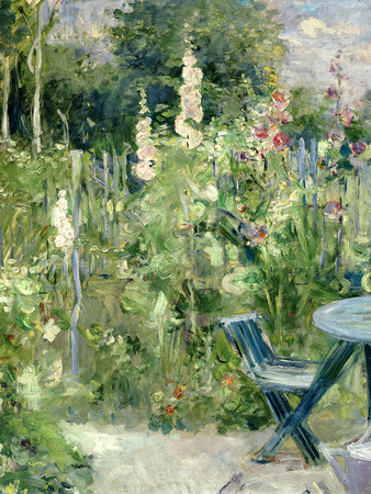 Roses Tremieres (Hollyhocks), 1884 Premium Giclee Print by Berthe Morisot