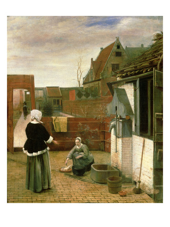A Woman and a Maid in a Courtyard, c.1660-61 Premium Giclee Print by Pieter de Hooch