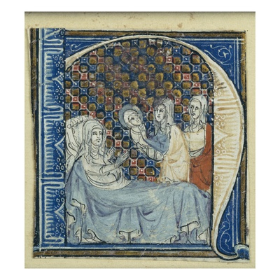 Historiated Initial 'H' Depicting the Birth of the Virgin, C.1320-30 (Vellum) Giclee Print by  French