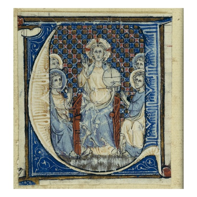 Historiated Initial 'U' Depicting a Christ in Majesty, C.1320-30 (Vellum) Giclee Print by  French