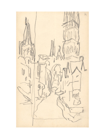 Rouen Cathedral, the Calende Portal and the Central Tower (Pencil on Paper) Premium Giclee Print by Claude Monet