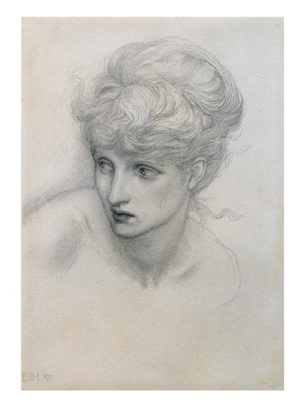 Study of a Girl's Head (Pencil on Paper) (See also 198345) Premium Giclee Print by Edward Burne-Jones
