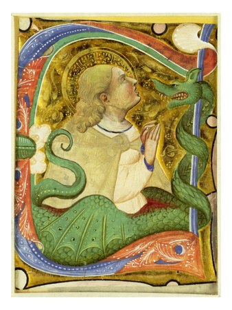 Historiated Initial 'C' Depicting St. Margaret (Vellum) Premium Giclee Print by  Master of San Michele of Murano
