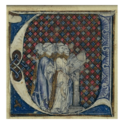 Historiated Initial 'U' Depicting Monks Singing, C.1320-30 (Vellum) Giclee Print by  French