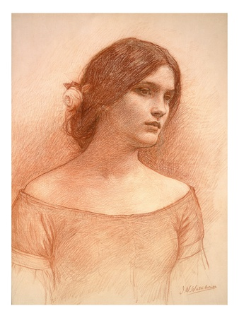 Study for 'The Lady Clare', C.1900 (Red Chalk on Paper) (See 55018) Premium Giclee Print by John William Waterhouse