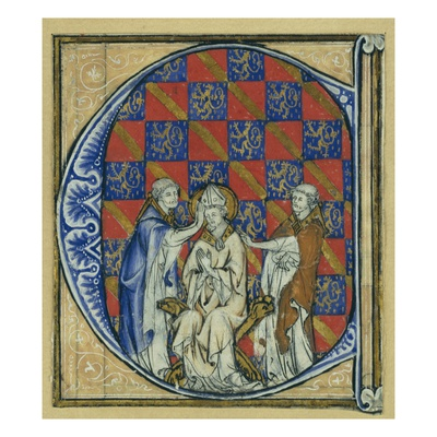 Historiated Initial 'C' Depicting the Ordination of a Bishop, C.1320-30 (Vellum) Giclee Print by  French