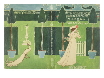 Book Jacket Design for 'A Floral Fantasy in an Old English Garden' by Walter Crane, C.1890S (Litho) Premium Giclee Print by Walter Crane