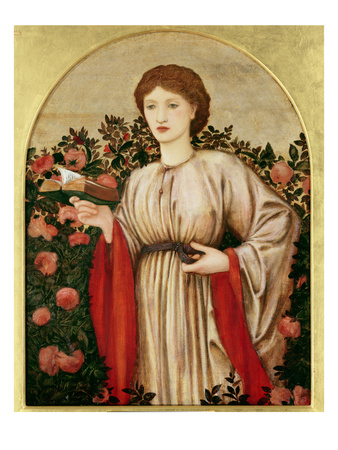 Girl with Book with Roses Behind Premium Giclee Print by Edward Burne-Jones