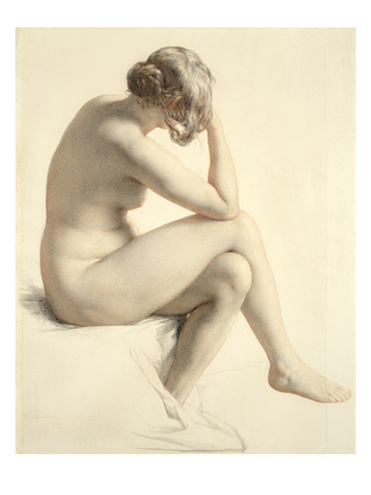 Life Study (Pastel and Pencil on Paper) Premium Giclee Print by William Mulready
