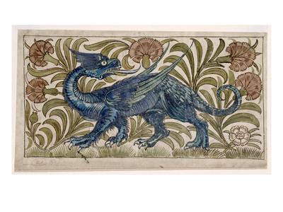 Dragon' Design for a Tile (W/C on Paper) Premium Giclee Print by William De Morgan