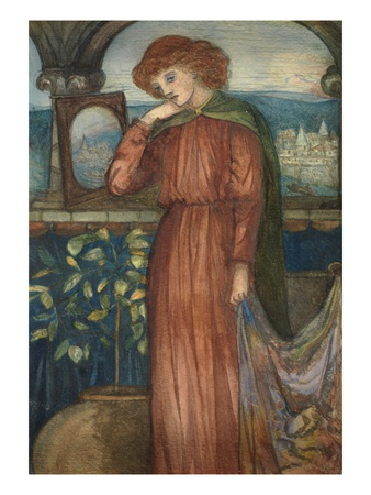 The Lady of Shalott (W/C on Card) Premium Giclee Print by Dante Gabriel Rossetti