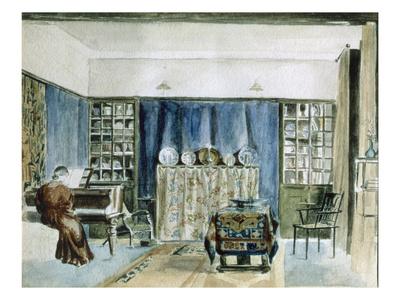 Interior of Kelmscott Manor (W/C on Paper) Premium Giclee Print by William Morris