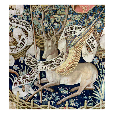 The Winged Deer (Tapestry) (Detail of 95771) Giclee Print by  French