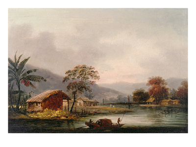 Figures Guiding a Sampan Round a Bend in a River, Past a Village Premium Giclee Print by George Chinnery