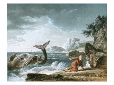 Jonah Having Been Vomited Out by the Whale onto Dry Land Premium Giclee Print by J. Vernet