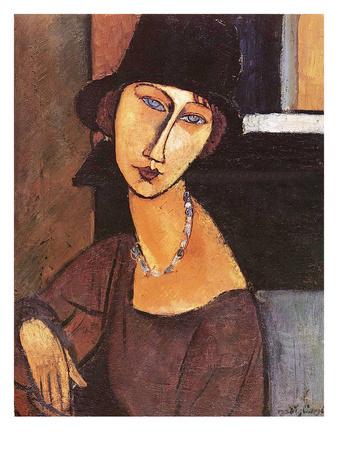 Jeanne Hebuterne Wearing a Hat, 1917 Stampa giclée premium di Amedeo Modigliani