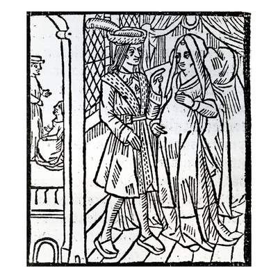 Pathelin and Guillemette, from 'The Farce of Master Pierre Pathelin', C.1465 (Woodcut) Giclee Print by  French