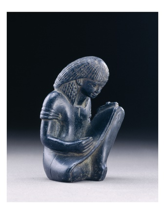Seated Scribe, New Kingdom, 1391-1353 BC (Greywacke) Premium Giclee Print by  Egyptian 18th Dynasty